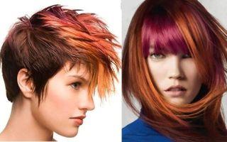 Мелирование темными прядями: рыжие волосы с красными, широкое с синими и крупное с тонкими голубыми