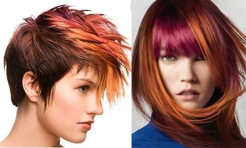 Мелирование темными прядями: рыжие волосы с красными, широкое с синими, крупное с тонкими голубыми, черные