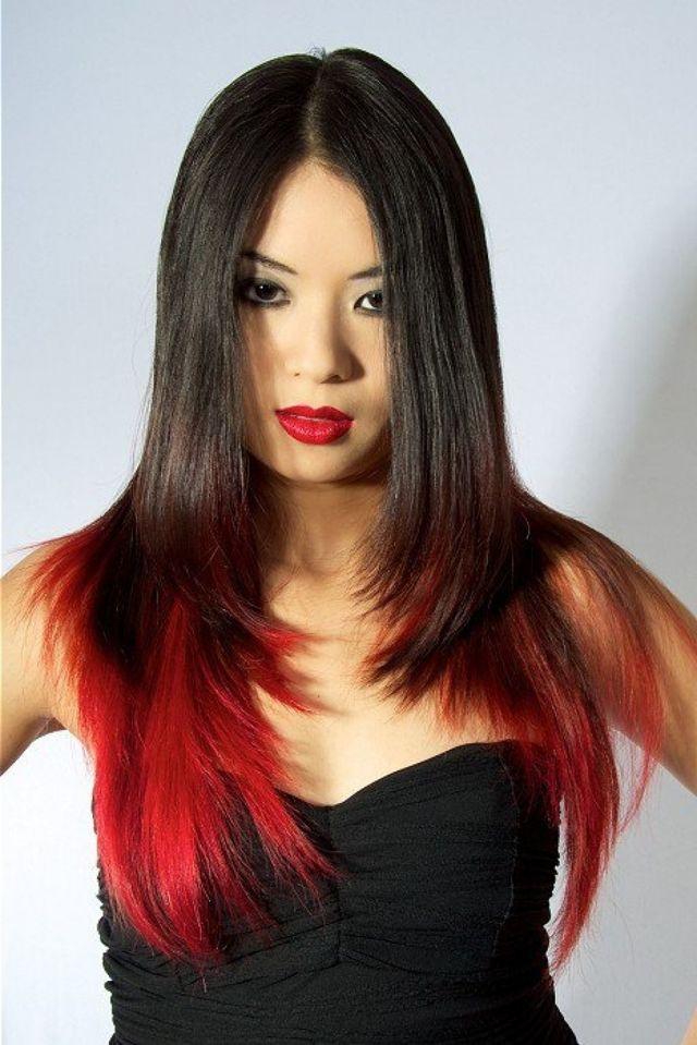 Омбре на каштановые волосы средней длины: 9 техник каре на темные длинные с красным цветом