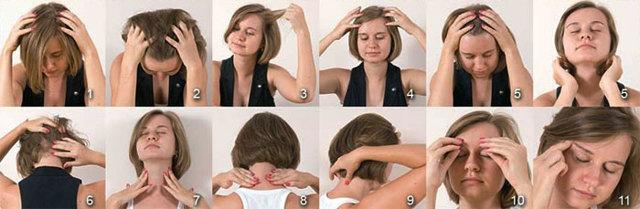 Массаж от головной боли: как правильно делать по точкам для головы и шеи, как сделать точечный самомассаж в висках, техника выполнения