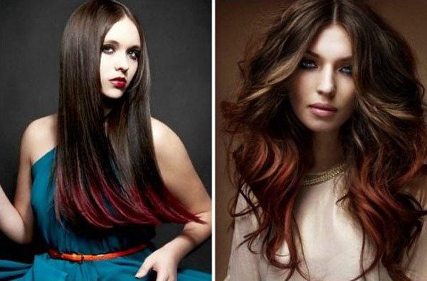 Рыжее омбре на темные волосы: 6 оттенков и 3 вида окрашивания с русым цветом с розовыми кончиками на длинные, на короткие