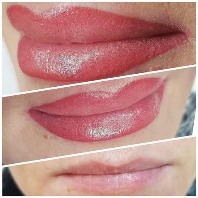 Татуаж губ с растушевкой: натуральный перманентный макияж, четкий контур, палитра цветов