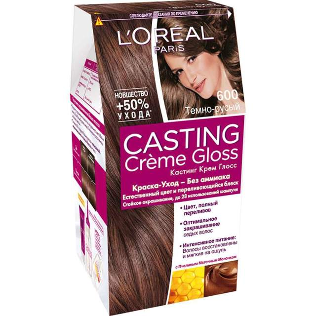Кастинг Крем Глосс: палитра цветов casting creme gloss, краска для волос без аммиака Лореаль, оттенки безаммиачной шоколад и карамель