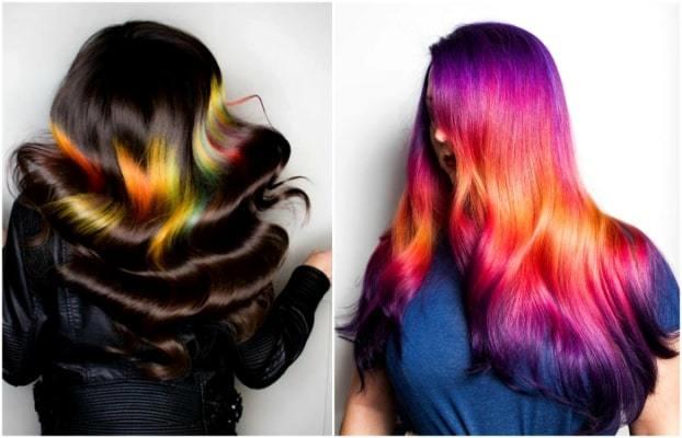 Цветное колорирование волос: трехцветное, разноцветное, в красных, синих, зеленых и фиолетовых тонах, рыжими прядями