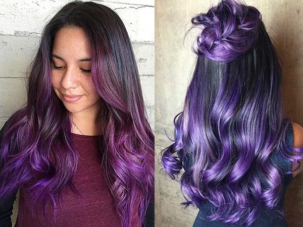 Цветное яркое омбре: 16 оттенков (фиолетовое, белое, синее, зеленое, бордовое, голубое, персиковое, сиреневое, разноцветное, бирюзовое, коричневым, лиловое, розовое, баклажан, лавандовое, трехцветное), как сделать на русые, черные волосы